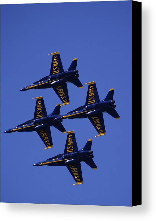Airshows Canvas Print featuring the photograph Blue Angels by Bill Gallagher