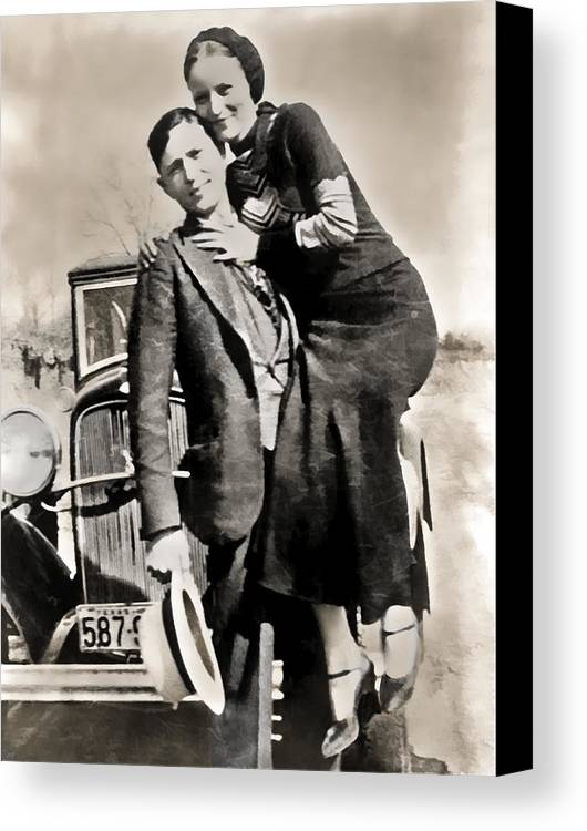bonnie And Clyde Canvas Print featuring the photograph Bonnie And Clyde - Texas by Daniel Hagerman
