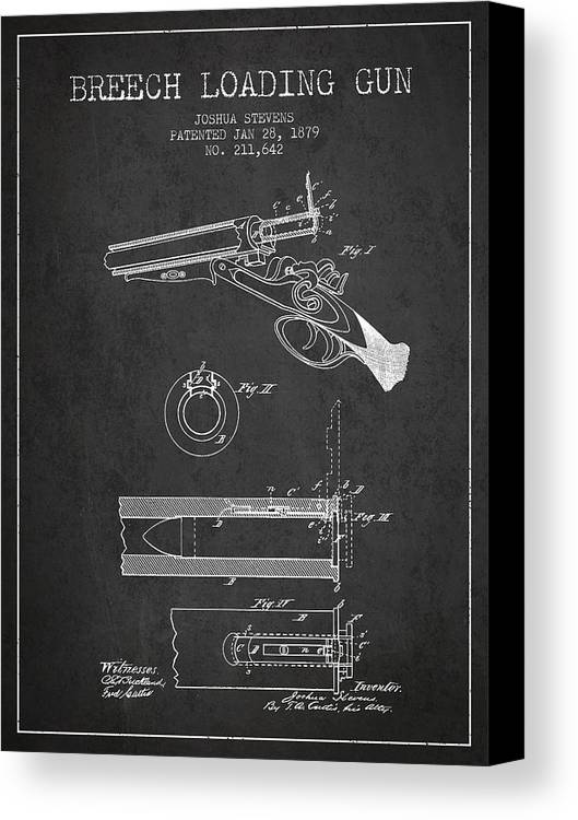 Rifle Patent Canvas Print featuring the digital art Breech Loading Shotgun Patent Drawing From 1879 - Dark by Aged Pixel