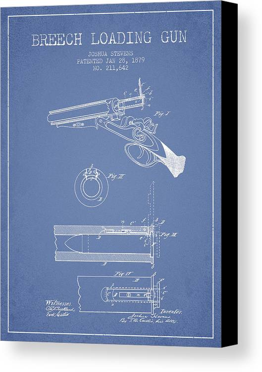 Rifle Patent Canvas Print featuring the digital art Breech Loading Shotgun Patent Drawing From 1879 - Light Blue by Aged Pixel