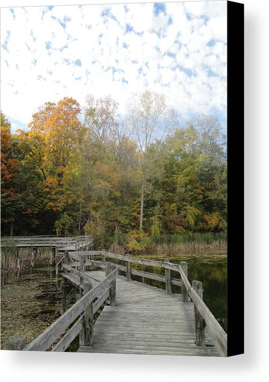 Guy Ricketts Photography Canvas Print featuring the photograph Bridge Into Autumn by Guy Ricketts