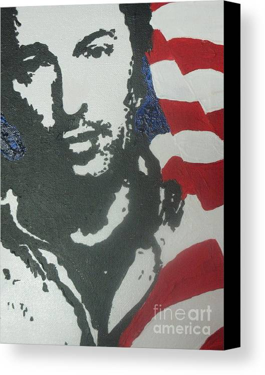 Rock N Roll Canvas Print featuring the painting Bruce by Moira Ferguson