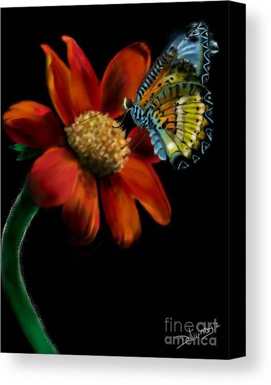 Flowers Canvas Print featuring the digital art Butterfliy by Deborah Vicino