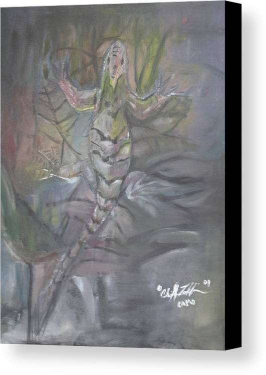 Abstract Lizard Canvas Print featuring the painting Camo by ChrisMoses Tolliver