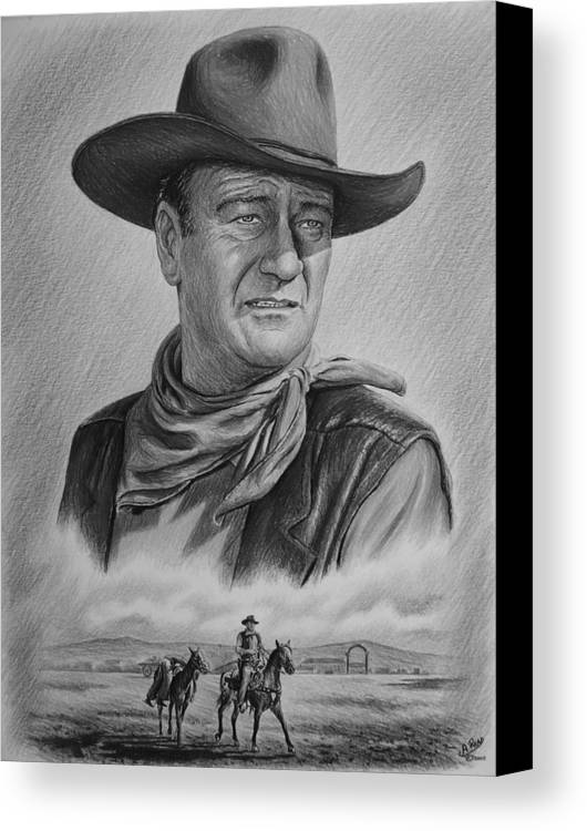 John Wayne Canvas Print featuring the drawing Captured Bw Version by Andrew Read