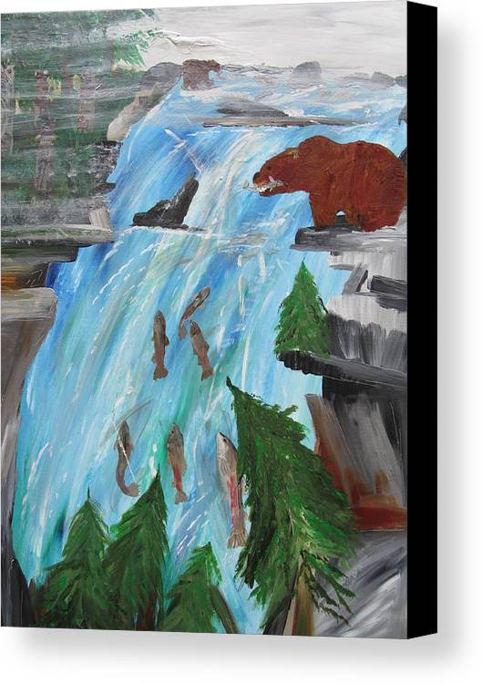 Salmon Run Canvas Print featuring the painting Catch He Can by Susan Voidets
