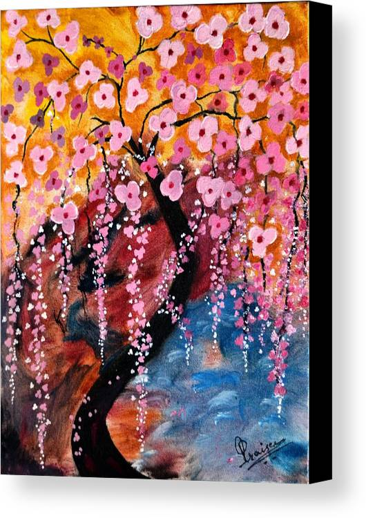 Cherry Blossom Canvas Print featuring the painting Cherry Blossom by Praisey Peter