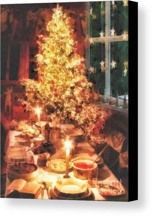 Christmas Eve Canvas Print featuring the painting Christmas Eve by Mo T