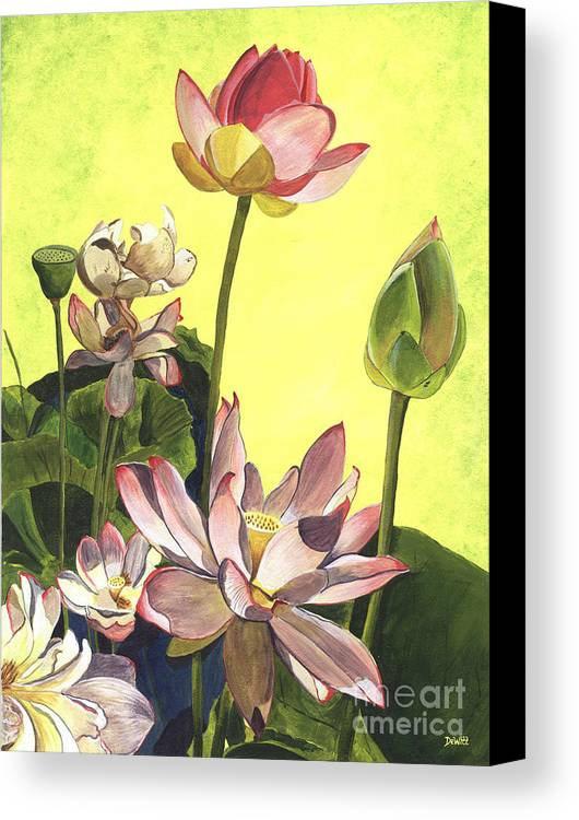 Floral Canvas Print featuring the painting Citron Lotus 1 by Debbie DeWitt