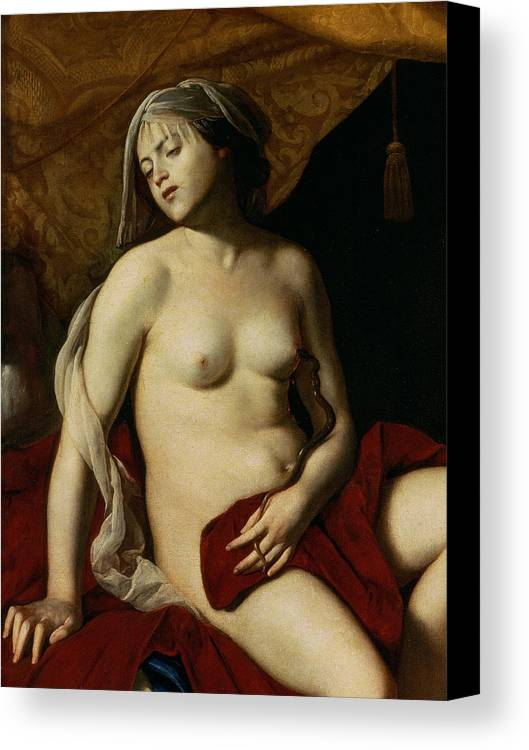 Neapolitan School Canvas Print featuring the painting Cleopatra by Massimo Stanzione