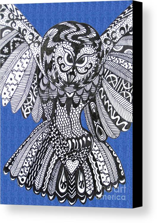 Owls Canvas Print featuring the drawing Close Up Owl Blue by Karen Larter