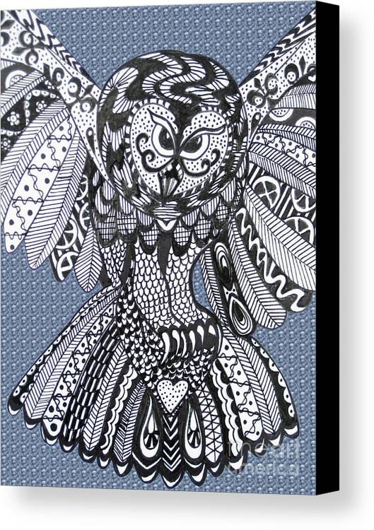 Owls Canvas Print featuring the drawing Close Up Owl Bubble by Karen Larter