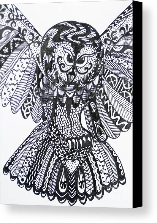 Owls Canvas Print featuring the drawing Close Up Owl White by Karen Larter