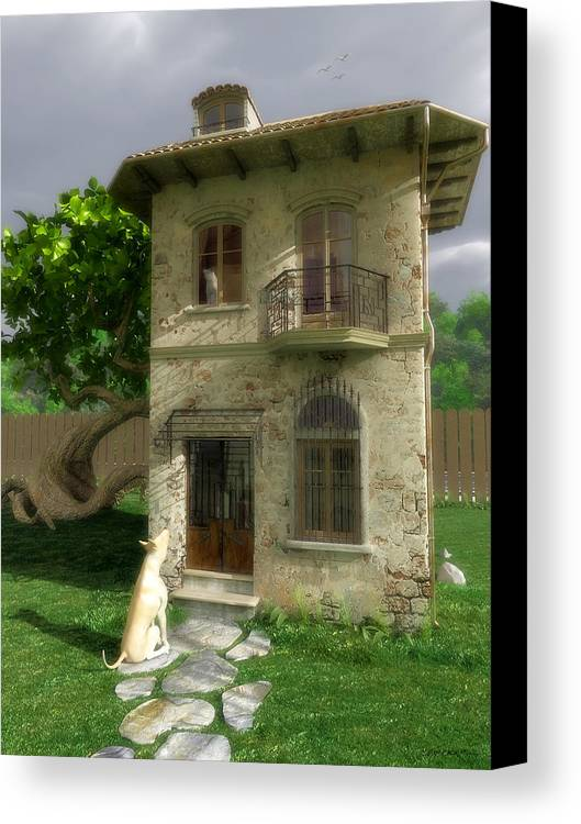 Dog Canvas Print featuring the digital art Come Out And Play by Cynthia Decker