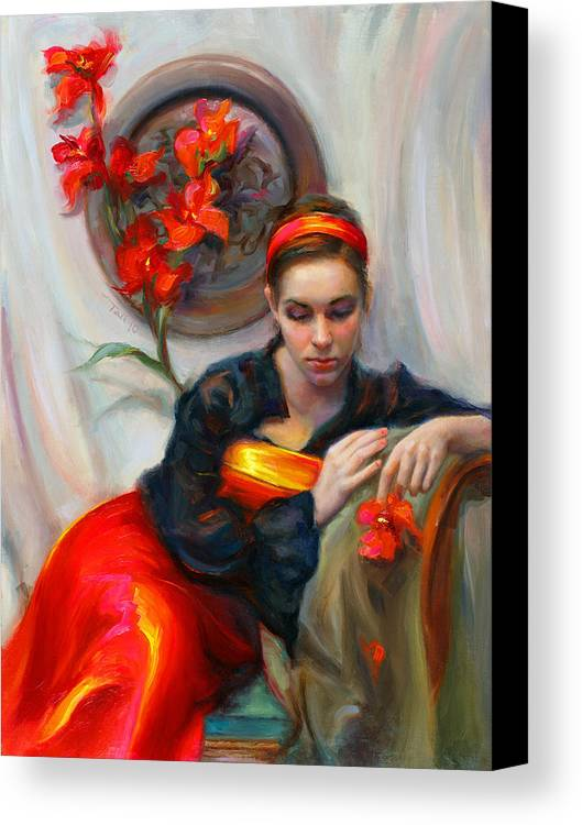 Talya Canvas Print featuring the painting Common Threads - Divine Feminine In Silk Red Dress by Talya Johnson
