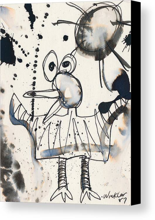 Bird Canvas Print featuring the painting Crazy Bird by Christopher Winkler