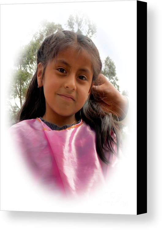 Girl Canvas Print featuring the photograph Cuenca Kids 528 by Al Bourassa