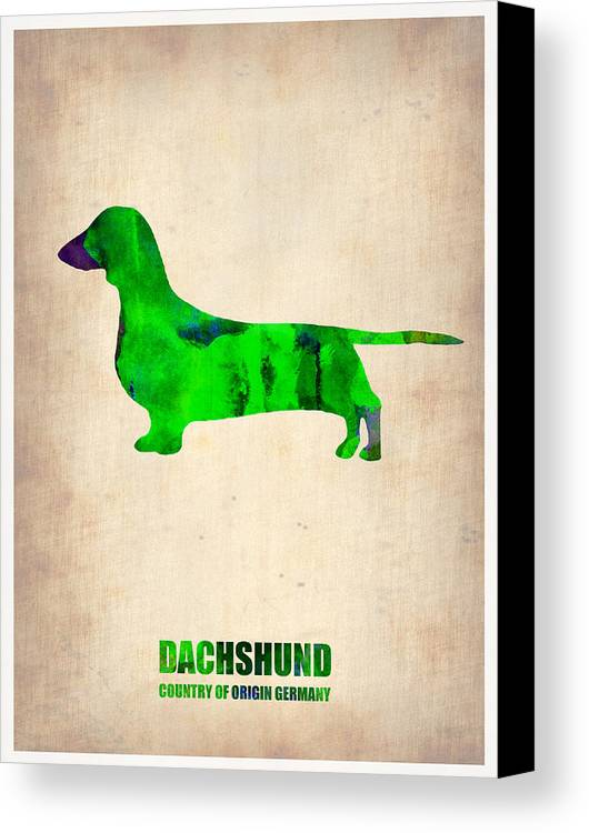 Dachshund Canvas Print featuring the painting Dachshund Poster 1 by Naxart Studio