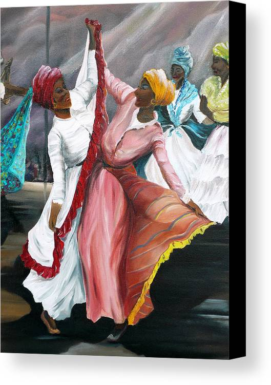 Dancers Folk Caribbean Women Painting Dance Painting Tropical Dance Painting Canvas Print featuring the painting Dance The Pique 2 by Karin Dawn Kelshall- Best