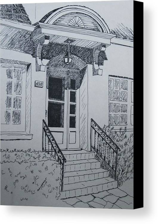 Pen And Ink Canvas Print featuring the drawing Doorway by Mary Ellen Mueller Legault