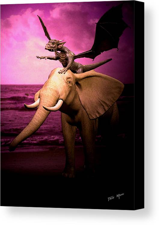 Mythical Canvas Print featuring the painting Dragon Riding Elephant by Tray Mead