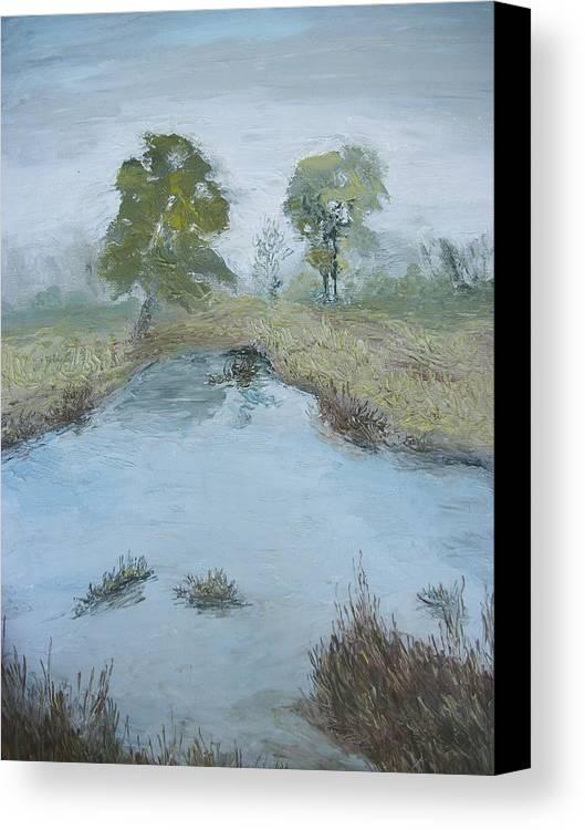 Pond Canvas Print featuring the painting Farm Pond by Dwayne Gresham