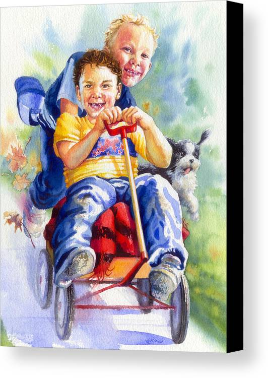 Children Canvas Print featuring the painting Fire Brigade by Hanne Lore Koehler