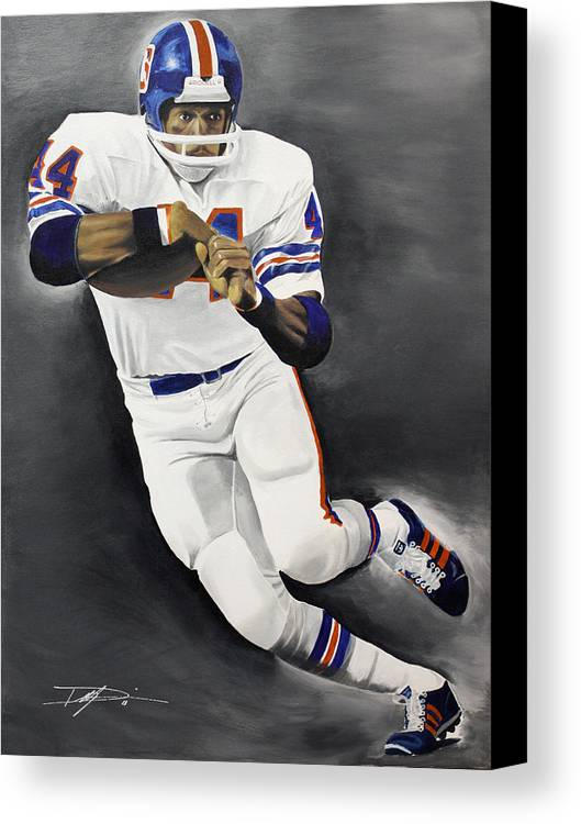 Floyd Little Canvas Print featuring the drawing Floyd Little by Don Medina
