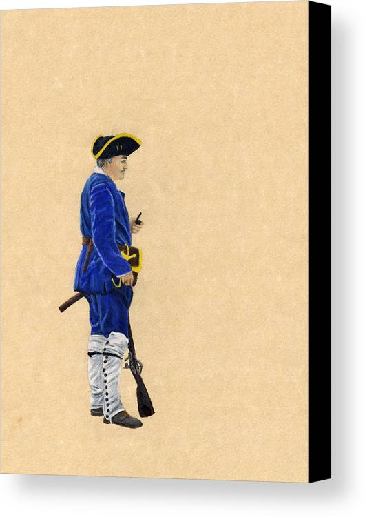 French Marine Canvas Print featuring the drawing Fort Toulouse Soldier At Ease by Beth Parrish