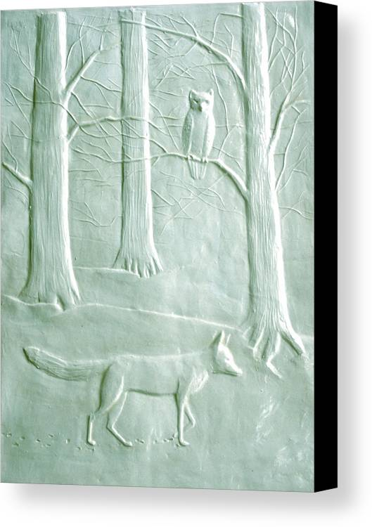 Animals Canvas Print featuring the sculpture Fox And Owl In The Winter Woods by Deborah Dendler