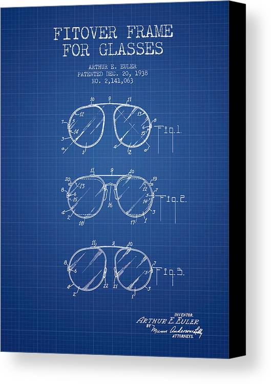 Frame for glasses patent from 1938 blueprint canvas print canvas sunglasses canvas print featuring the digital art frame for glasses patent from 1938 blueprint by malvernweather Images