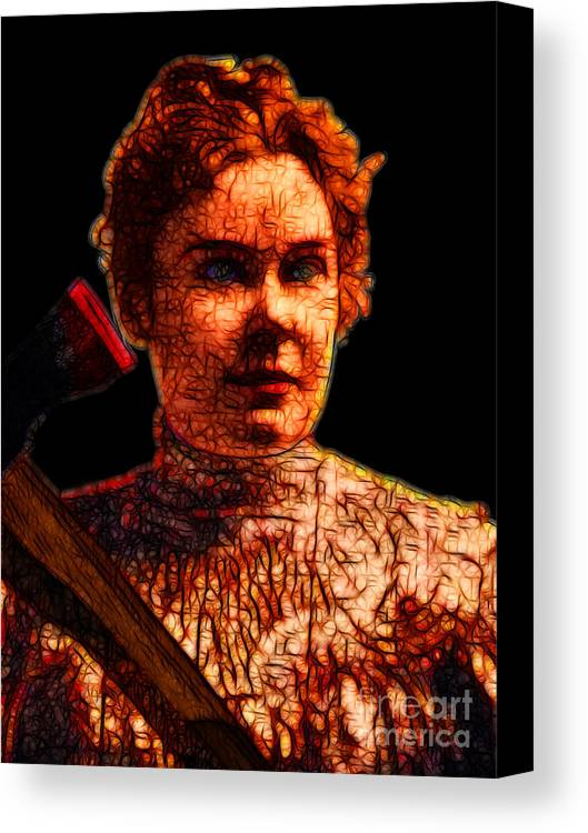 Lizzie Bordon Canvas Print featuring the photograph Gave Her Father Forty Whacks - Black by Wingsdomain Art and Photography