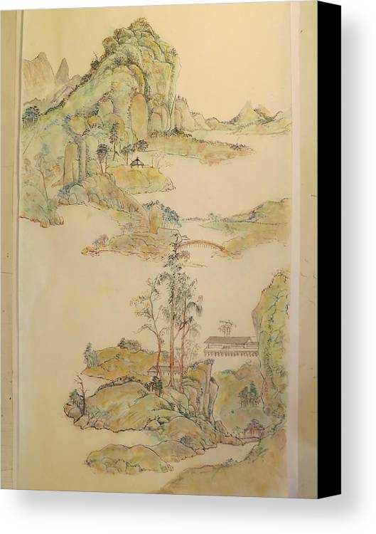 Gongbi Landscape After Wang Yuanqi Canvas Print featuring the painting Gongbi Landscape # 4 by Alejandro Angio