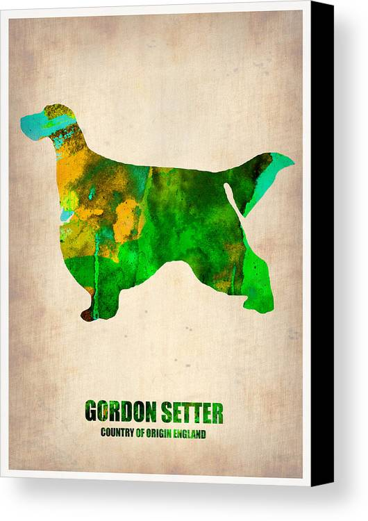 Gordon Setter Canvas Print featuring the painting Gordon Setter Poster 2 by Naxart Studio