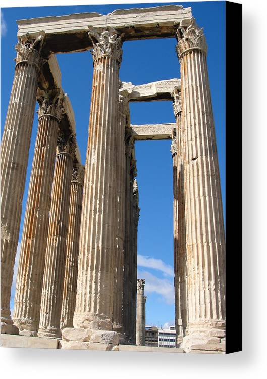 Greece Canvas Print featuring the photograph Greek Ruins by Tiffany Erdman