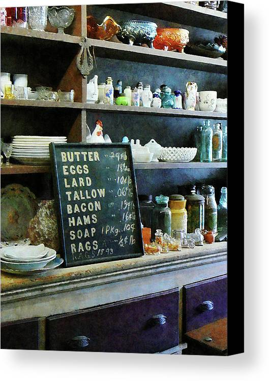 Store Canvas Print featuring the photograph Groceries In General Store by Susan Savad