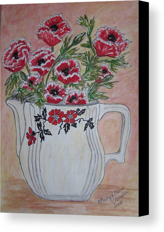 Hall China Canvas Print featuring the painting Hall China Red Poppy And Poppies by Kathy Marrs Chandler