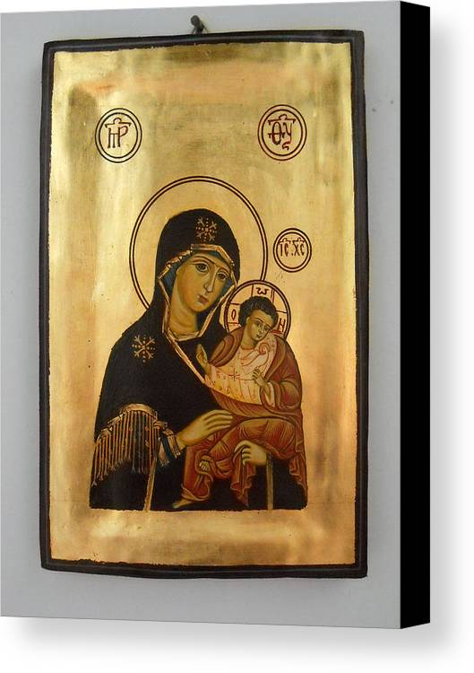 Religious Icons Canvas Print featuring the painting Handpainted Orthodox Holy Icon Madonna With Child Jesus by Denise Clemenco