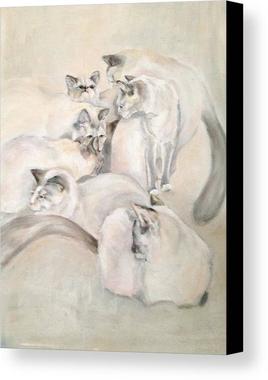 Kitten Canvas Print featuring the painting Heavenly Puffs by Janet Felts