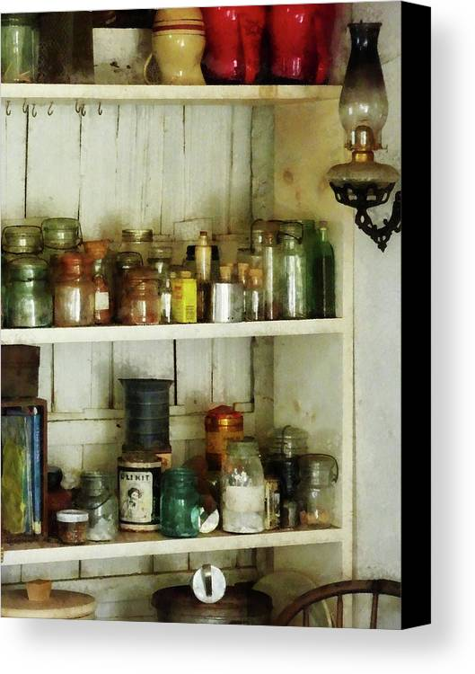 Pantry Canvas Print featuring the photograph Hurricane Lamp In Pantry by Susan Savad