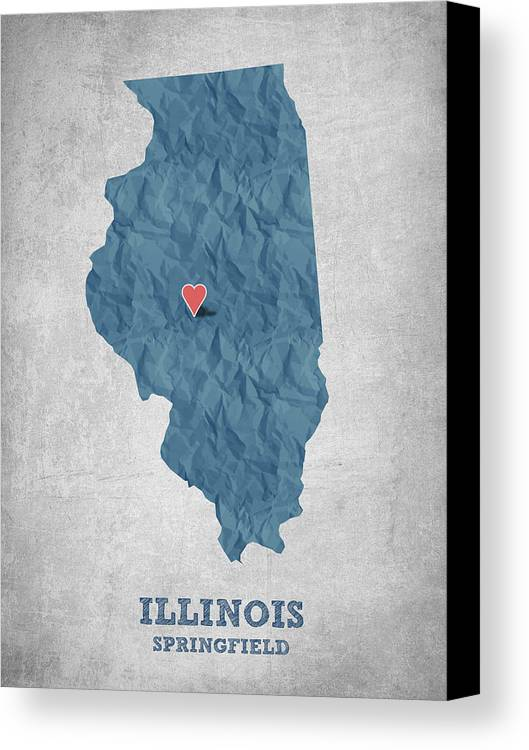 Springfield Canvas Print featuring the digital art I Love Springfield Illinois - Blue by Aged Pixel