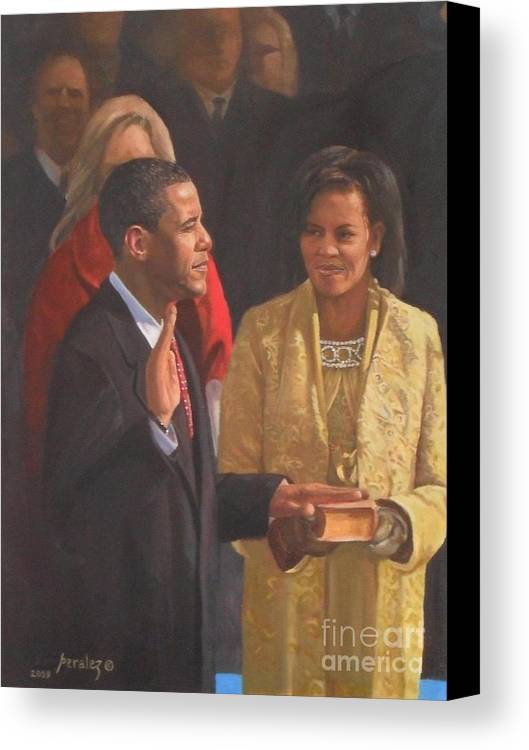 Barack Obama Portraits Canvas Print featuring the painting Inauguration Of Barack Obama by Noe Peralez