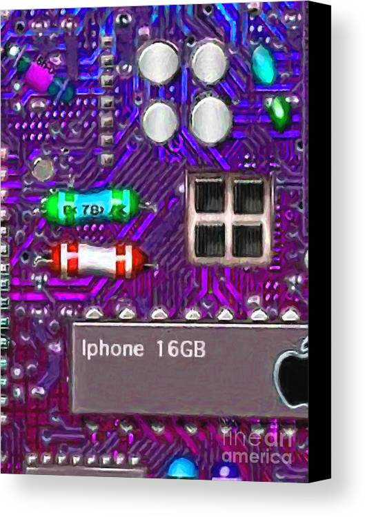 Circuit Board Canvas Print featuring the photograph Iphone I-art P128 by Wingsdomain Art and Photography