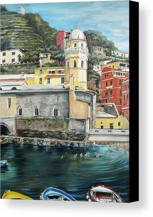 Cinque Terre Canvas Print featuring the painting Italian Riviera - Cinque Terre Colors by Jennifer Lycke