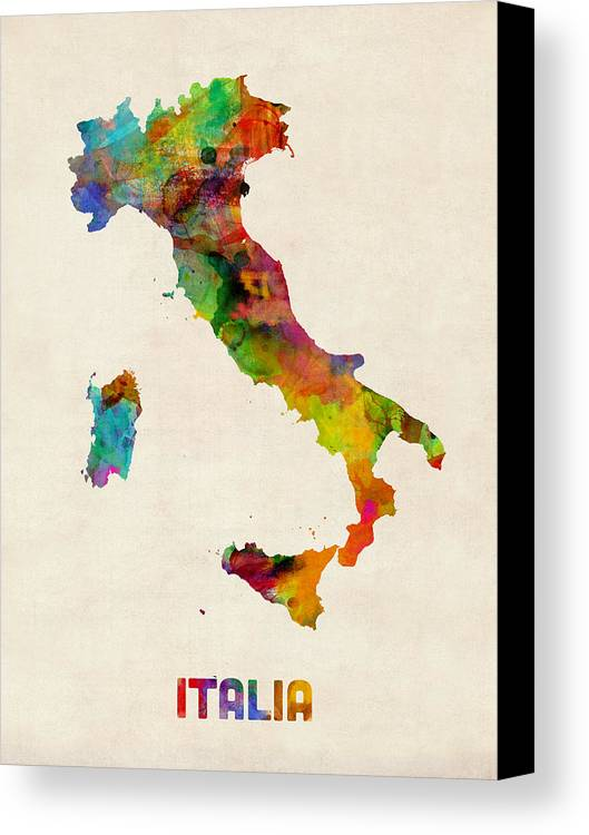 Italy watercolor map italia canvas print canvas art by michael italy map canvas print featuring the digital art italy watercolor map italia by michael tompsett gumiabroncs Image collections