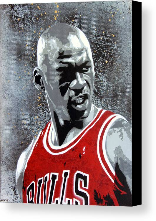 Michael Jordan Canvas Print featuring the painting Jordan by Bobby Zeik
