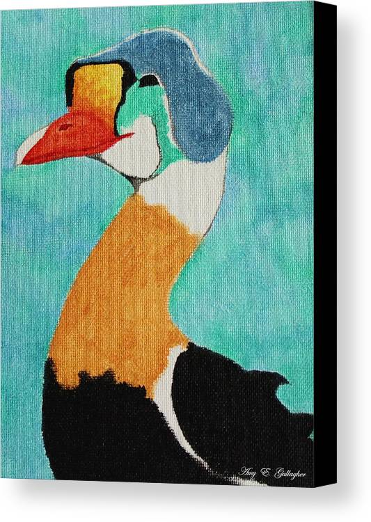 King Eider Canvas Print featuring the painting King Eider by Amy Gallagher