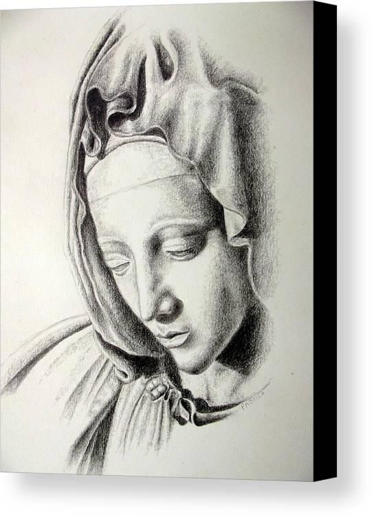 Religious Canvas Print featuring the drawing La Pieta Madonna by Heather Calderon