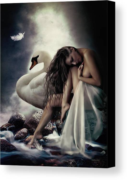 Leda Canvas Print featuring the digital art Leda And The Swan by Shanina Conway