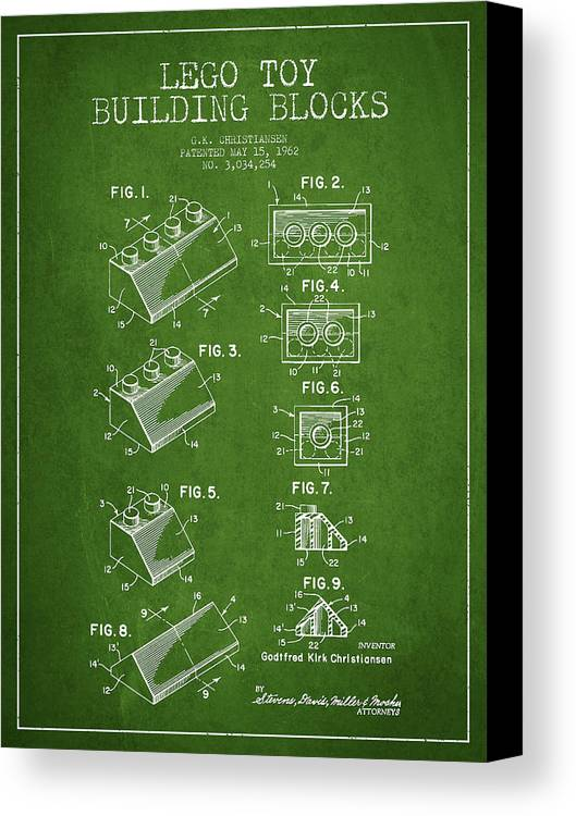 Lego Canvas Print featuring the drawing Lego Toy Building Blocks Patent - Green by Aged Pixel